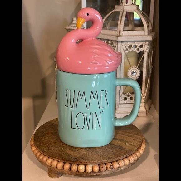 🦩Rae Dunn Summer Lovin' Flamingo 🦩 Topper Mug🦩